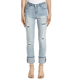 Black Daisy Kate Destructed Marble Wash Cuffed Jeans