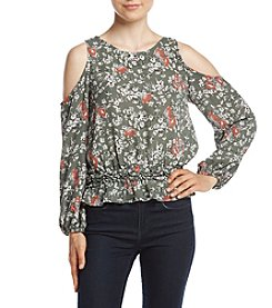 June & Hudson® Floral Print Cold Shoulder Peasant Shirt