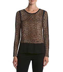 MICHAEL Michael Kors® Leopard Print Mix Media Shirt