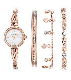 Anne Klein® Rose Goldtone Crystal Bracelet Watch Box Set