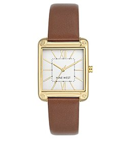 Nine West® Goldtone Square Strap Watch