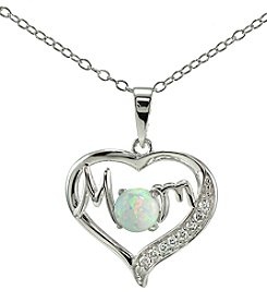 Designs by FMC Sterling Silver Lab Created Opal & Cubic Zirconia Mom Heart Pendant