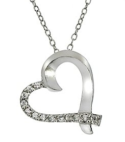 Designs by FMC Platinum Plated Cubic Zirconia Asymmetrical Heart Pendant