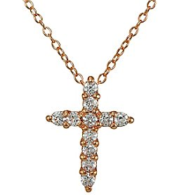 Designs by FMC Rose Gold Plated Cubic Zirconia Cross Pendant