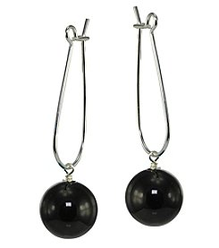 Designs by FMC Sterling Silver Onyx Ball Drop Earrings