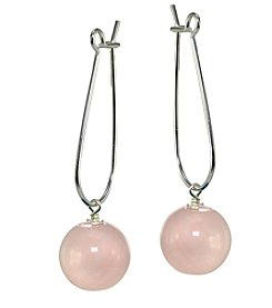 Designs by FMC Sterling Silver Rose Quartz Ball Drop Earrings