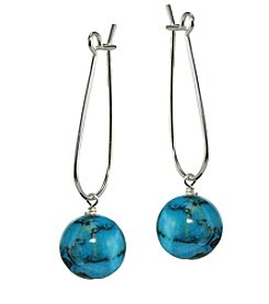 Designs by FMC Sterling Silver Teal Agate Ball Drop Earrings