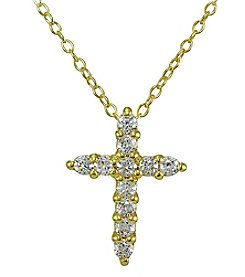 Designs by FMC Gold Plated Sterling Silver Cubic Zirconia Cross Pendant