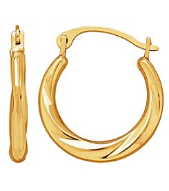 14K Yellow Gold Small Twist Round Hoop Earrings