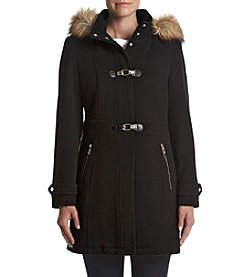 Ivanka Trump Faux Fur Hood Toggle Detail Coat