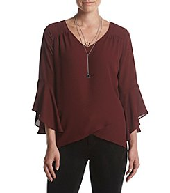 AGB® Neclace Ruffled Bell Sleeve Blouse