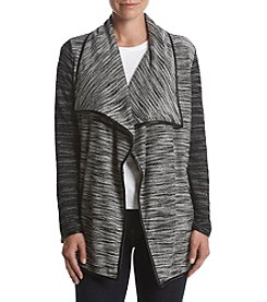 Chelsea & Theodore® Faux Leather Trim Cardigan
