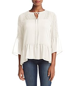 Fever™ Pleated Lace Blouse