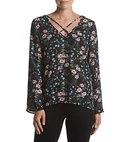 Cupio Floral Printed Lattice Neckline Blouse