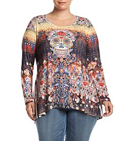 Oneworld® Plus Size Skull Print Blouse