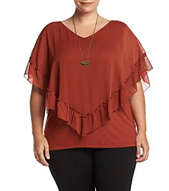 AGB® Plus Size Ruffle Popover Tee
