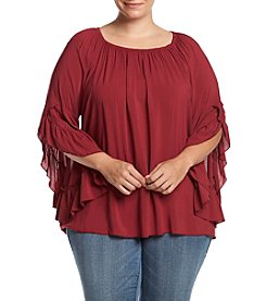 Fever™ Plus Size Ruffled Sleeve Blouse