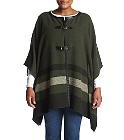 Rafaella® Plus Size Striped Buckle Poncho
