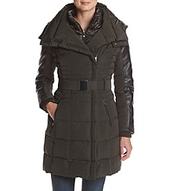 GUESS Asymmetrical Zip Belted Down Coat