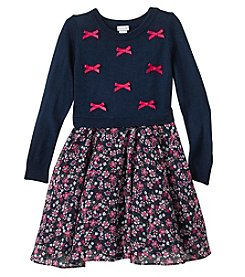 Sweet Heart Rose® Girls' 4-6X Bow Sweater Top And Chiffon Floral Skirt Set