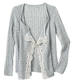 It's Our Time® Girls' 7-16 Long Sleeve Cascade Cardigan With Lace