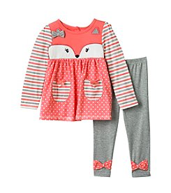 Nannette® Girls' 2T-6X Long Sleeve Fox Top And Bow Leggings Set