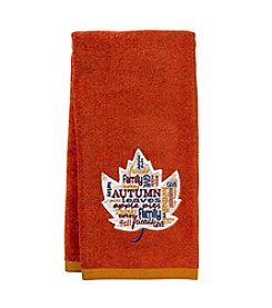 LivingQuarters Autumn Leaf Sentiments Hand Towel