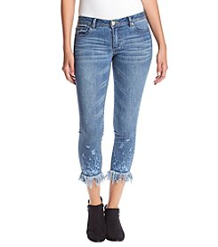 One 5 One Fringe Hem Embroidery Skinny Jeans