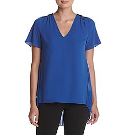 MICHAEL Michael Kors® Pleated Back and Lace Yoke Top