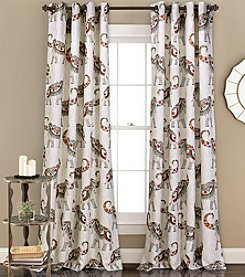 Lush Decor Hati Elephants Room Darkening 2-Piece Curtain Set