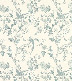 Laura Ashley® Summer Palace Off-White and Duck Egg Wallpaper