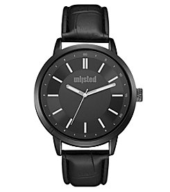 Unlisted by Kenneth Cole® Men's Black Dial Faux Leather Strap Watch