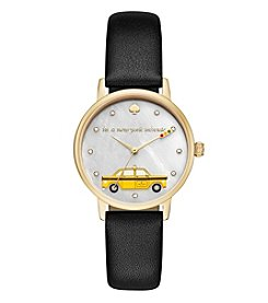 kate spade new york® Leather Metro Taxi Cab Watch