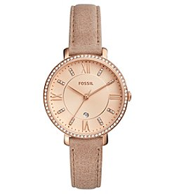 Fossil® Women's 36mm Jacqueline Three-Hand Date Rose Goldtone Crystal Watch with Leather Strap