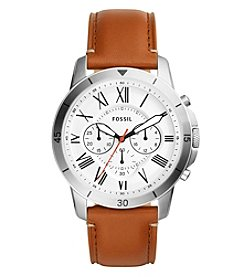 Fossil® Women's 44mm Grant Sport Chronograph Silvertone Watch With Tan Leather Strap