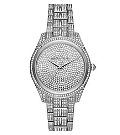 Michael Kors® Lauryn Stainless Steel And Pave Three Hand Watch