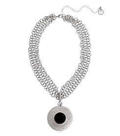 Erica Lyons® Extended Sizes Circle Pendant Necklace