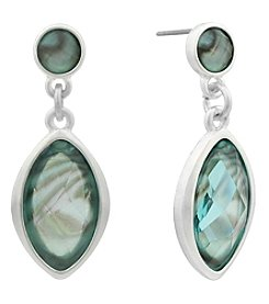 Gloria Vanderbilt® Silvertone Faceted Inlay Drop Earrings