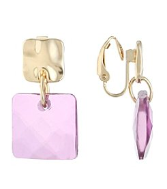 Gloria Vanderbilt® EZ Comfort Clip Square Drop Earrings