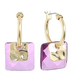 Gloria Vanderbilt® Square Bead Hoop Earrings