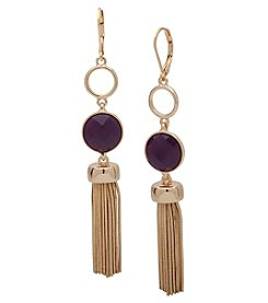 Nine West® Leverback Tassel Linear Earrings