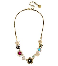 Betsey Johnson® Multi Charm Frontal Necklace