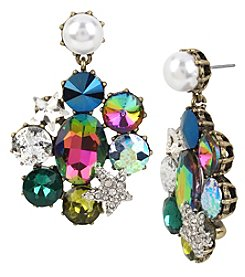 Betsey Johnson® Multi Stone And Simulated Pearl Drop Earrings