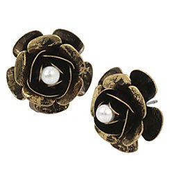 Betsey Johnson® Antiqued Goldtone Simulated Pearl Flower Earrings