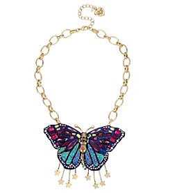 Betsey Johnson® Multi-Color Butterfly Pendant Necklace