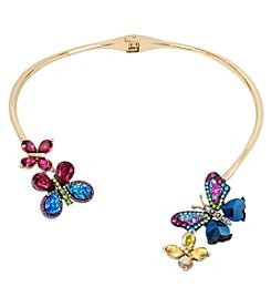 Betsey Johnson® Multi-Stone Hinge Butterfly Collar Necklace