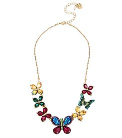 Betsey Johnson® Colorful Butterfly Frontal Necklace