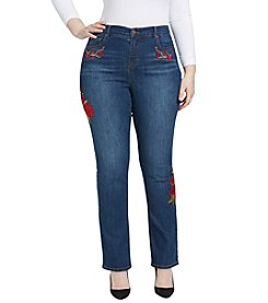 Bandolino® Plus Size Mandie Cherry Rose Patch Jeans