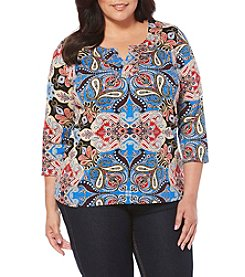 Rafaella® Plus Size Printed Top With Grommets