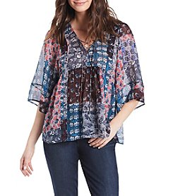 Vintage America Blues™ Cameron Lace Up Print Top